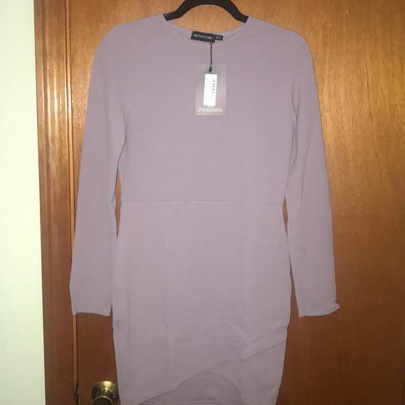 be4a76b42f PrettyLittleThing Dresses | Dove Grey Long Sleeve Wrap Bodycon Dress ...